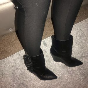 Black BCBG WEDGE ankle booties!! Must have!!